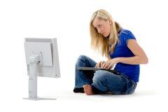 Woman and computer Stock Photos