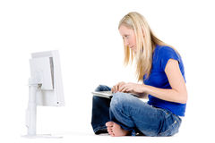Woman and computer Stock Photos