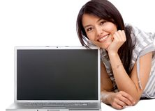 Woman with a computer Stock Images