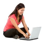 Woman with a computer Royalty Free Stock Photography