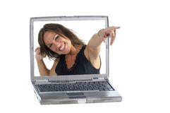 Woman and a computer Royalty Free Stock Photo