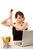 Woman with computer Stock Photo