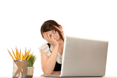 Woman with computer Royalty Free Stock Image