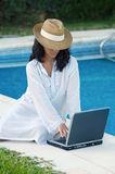 Woman with computer royalty free stock photography