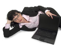 Woman and computer_2. Woman and the computer Royalty Free Stock Photos