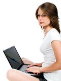 Woman with computer Royalty Free Stock Photo