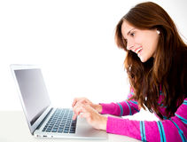 Woman with a computer Stock Photography