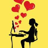 Woman at computer. Woman in love at computer Royalty Free Stock Image