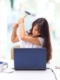 Woman with the computer Royalty Free Stock Images