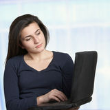 Woman on computer Royalty Free Stock Photography