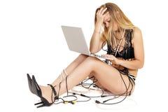 Woman computer addiction Stock Photography