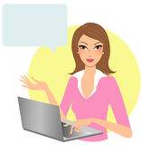Woman with computer Stock Images