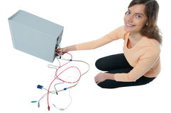 Woman, computer, cable Stock Image