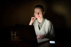 Woman at Computer in the Dark Stock Photos