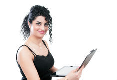 Woman with computer device Stock Image