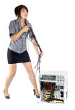 Woman computer domination Stock Photo