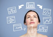 Woman with computer drawings graphics Royalty Free Stock Photos