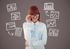 Woman with Computer drawings graphics Royalty Free Stock Images