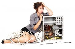 Woman computer frustration. Worried woman pouting on broken computer Stock Photography