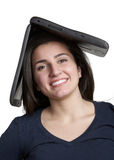Woman With Computer On Head Stock Image