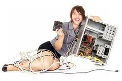 Woman computer hysteria Stock Photos