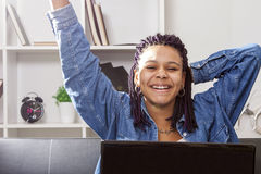 Woman computer laptop Royalty Free Stock Photo
