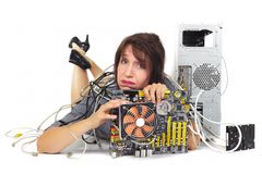 Woman and computer motherboard Royalty Free Stock Photography