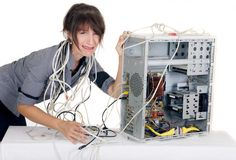Woman computer panic royalty free stock photos