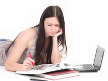 Woman with computer PC Stock Photo