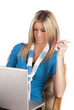 Woman computer pen Royalty Free Stock Images