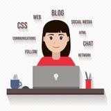 Woman with computer Stock Photos