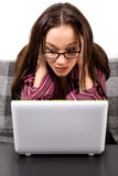 Woman with computer problems Royalty Free Stock Photo