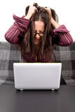 Woman with computer problems Stock Photos