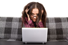Woman with computer problems Royalty Free Stock Image