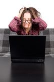 Woman with computer problems Stock Images