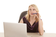 Woman computer purple top pen mouth Stock Photos