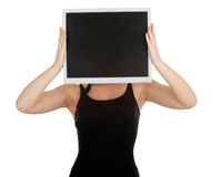 Woman with computer screen head Stock Photo