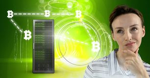 Woman with computer server and bitcoin technology information interface. Digital composite of Woman with computer server and bitcoin technology information royalty free stock photography