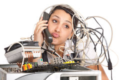 Woman computer support. Unhappy woman  having problems with computer trying to reach support line Stock Photo