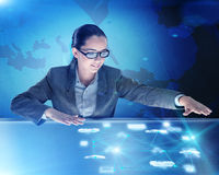 The woman in computing concept pressing buttons. Woman in computing concept pressing buttons Stock Photos