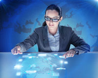 The woman in computing concept pressing buttons Royalty Free Stock Photography