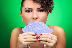 Woman concealing mouth Royalty Free Stock Photography