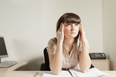 Woman concentrating Royalty Free Stock Image