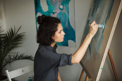 Woman in concept of arts therapy mental health profession Royalty Free Stock Image