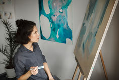Woman in concept of arts therapy mental health profession Stock Photo