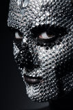 Woman with concept rhinestone make-up. In dark Royalty Free Stock Images