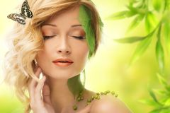 Woman in conceptual spring costume Stock Photo
