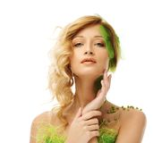 Woman in conceptual spring costume Stock Images