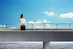 Woman on the concrete bridge Royalty Free Stock Photography