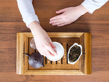 Woman conducting tea ceremony Stock Images
